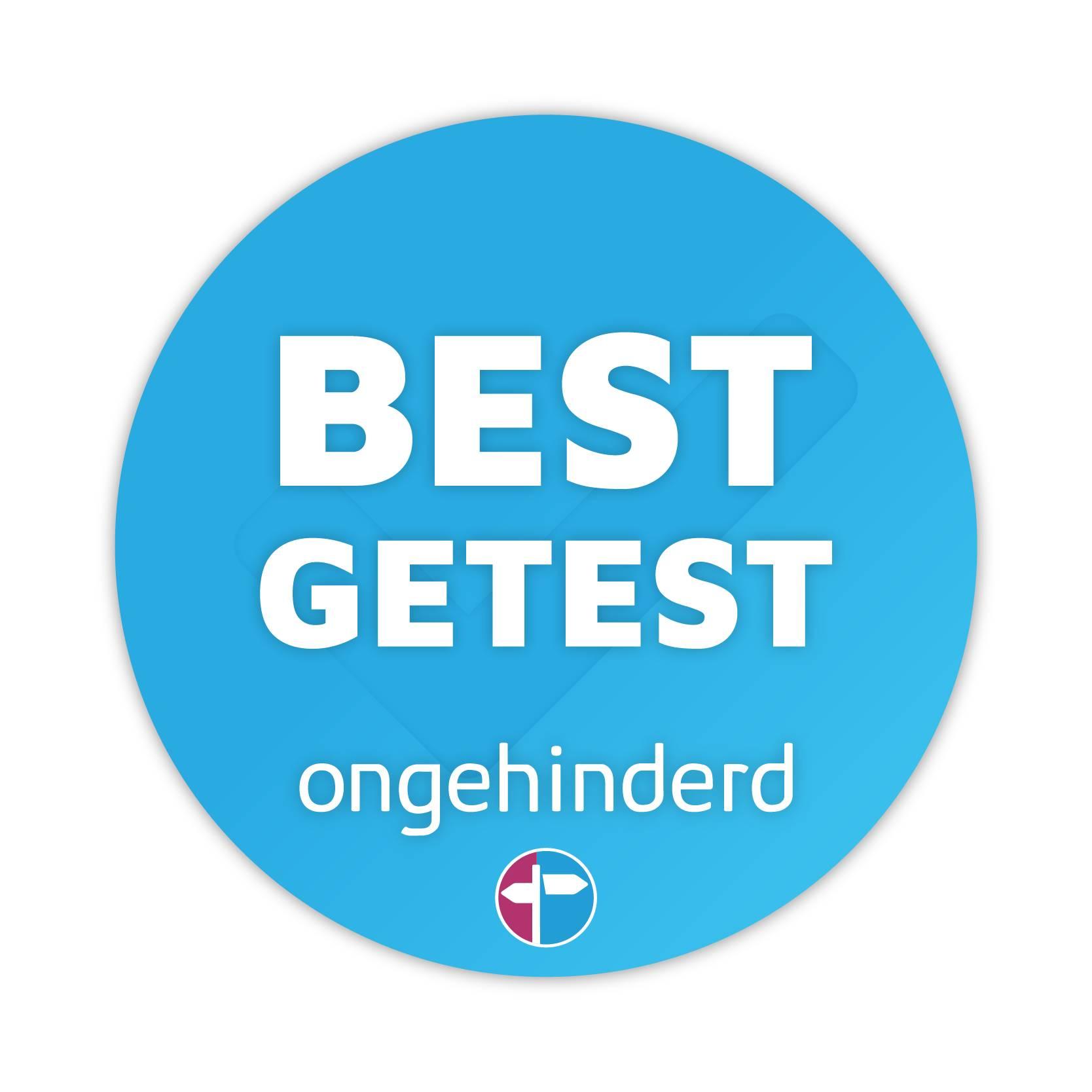 Badge Best Getest Blauw Rond met Verloop